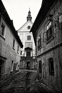 Skofja Loka - a very old Slovenian town. Weather still wet and grey so I went for a wet grey image.