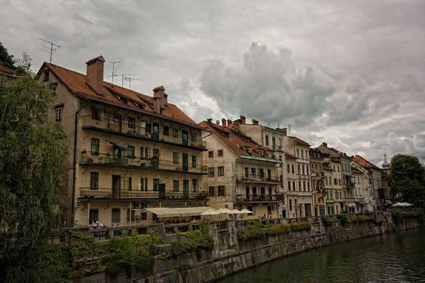 Ljubljana. Still grey but I like the clouds.