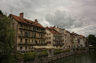 Ljubljana. Still grey but I like the clouds.