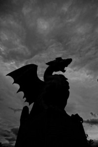 Dragon on the Dragon Bridge Ljubljana. Again grey weather so I'm playing around with the image. I think these black and white silhouettes against the sky look good.