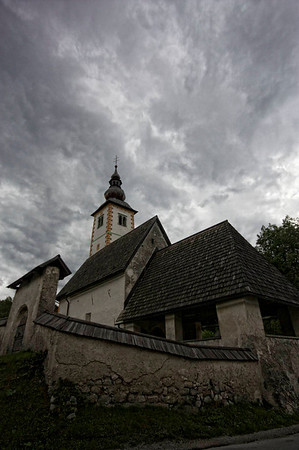 The church at Lake Bohinj. Weather still grey