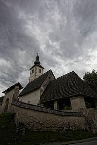The church at Lake Bohinj. Weather still grey