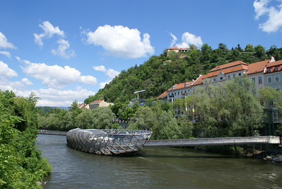 The river Mur flows right through downtown Graz.