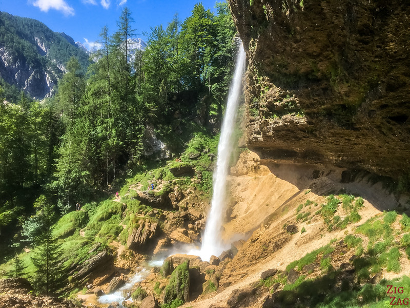 Slap Pericnik Waterfall Walk behind waterfall slovenia 4