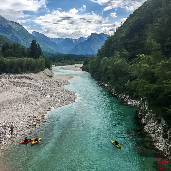 Soca river near Boka Waterfall Slovenia