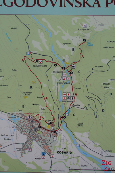 Slap Kozjak Waterfall walk map Kobarid historical trail