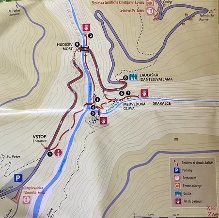 Tolmin Gorge Map
