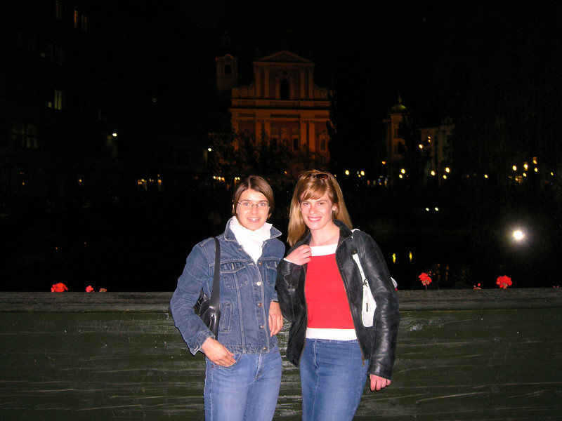 Nejka and Ana in front of the church and bridges