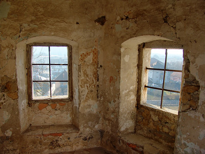 inside of an old guard tower at Zaprice castle