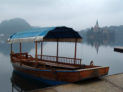 lonely gondola next to Bled island