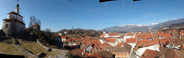 Panorama of Kamnik with Mali grad chapel on the left.