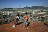 Children play football on one of the lookout points in the Providencia slum in Rio de Janeiro, Brazil, August 18, 2005. Recent public works in the slum in central Rio, which include paving and water, also include a tourist route. Along with traditional tourist sites such as beaches, the Christ statue and Sugaloaf mountain, Rio's famous slums, which offer spectacular views of the city, are becoming a regular tourist stop. (AustralFoto/Douglas Engle)