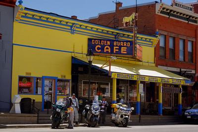 Gentlemen bikers outside the Golden Burro Cafe, Leadville, Colorado.