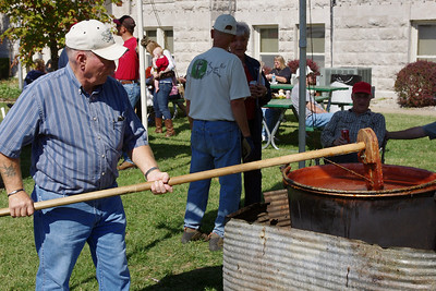 It takes about 12 hours to boil down a batch of apple butter. Apple Butter makin Days, Mount Vernon, Mo.