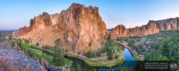 Smith Rock Morning - Super-HD Panorama (14,400 x 5760 pixels/300dpi). Digitally stitched from six vertical exposures. Thursday, August 21, 2014 at 6:18 AM. ISO 50, f/11, 35mm.