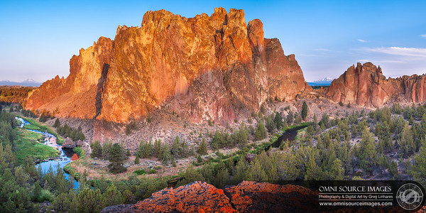 Sunrise at Smith Rock State Park - Terrebonne, Oregon. August 2, 2013 at 6:35 AM. 1/13 second at f/11, ISO 50, 40mm. Six vertical exposures digitally stitched for a total of 10,052 x 5026 pixels.
