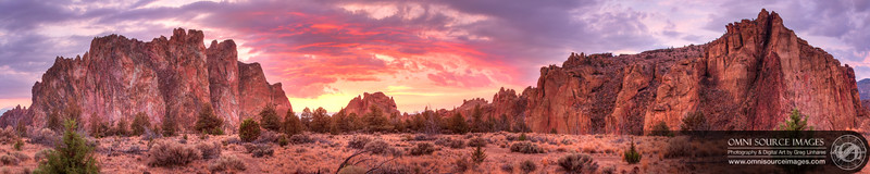 Smith Rock 180 Degree Sunset HDR - Super-HD Panorama (26,354 x 5271 pixels/300dpi). Created from 36 vertical images (one row of 3 exposures at 12 locations) digitally stitched and blended into three separate exposure blending planes and HDR tonemapped.