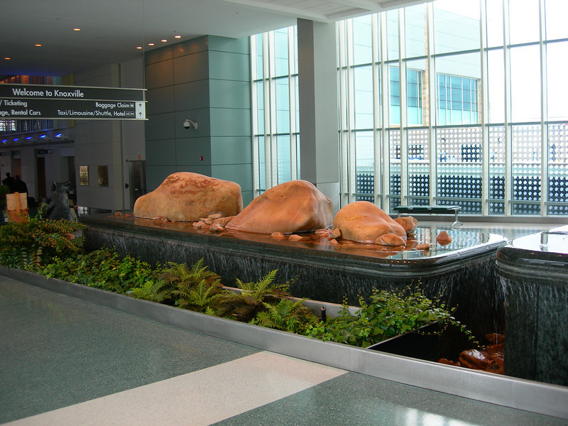 Beautiful quiet fountains welcome you to the Knoxville airport.