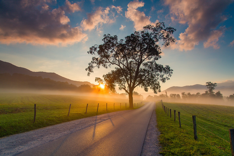Sunrise in Cades Cove - wide