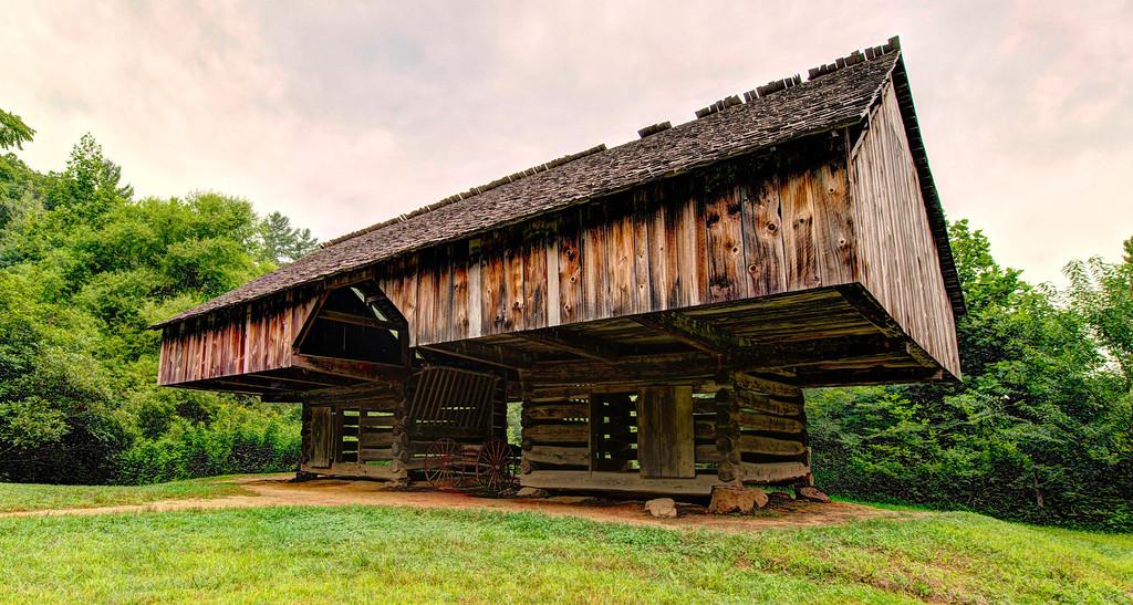 Cantilever Barn.  Cades cove Smoky Mountain Park