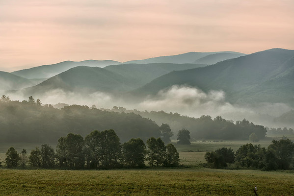 Morning fog and mist at Cades Cove National Park