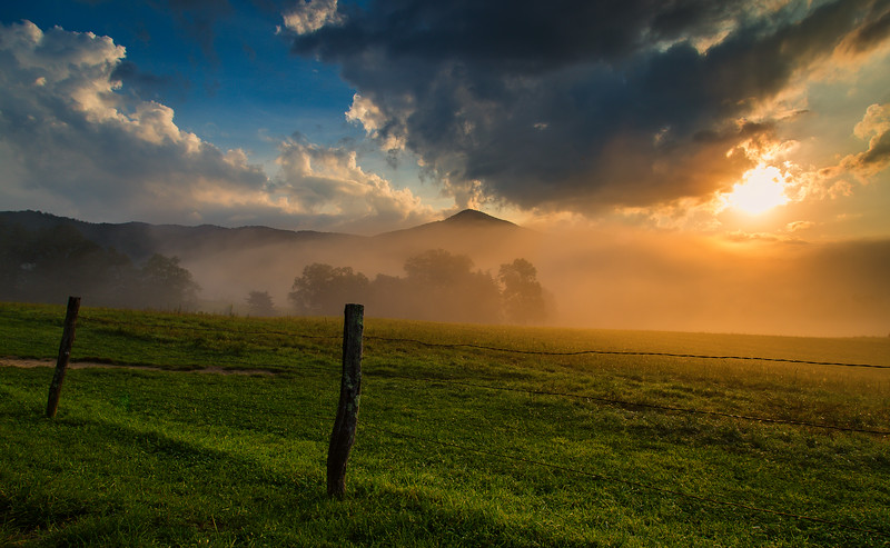 Golden Light across the fields & fog in Cades Cove