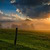 Golden Light across the fields & fog in Cades Cove