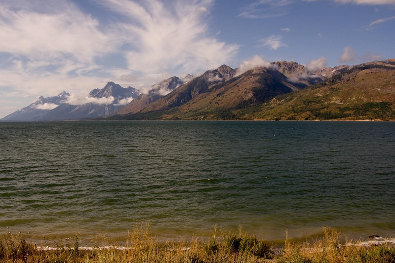 Grand Tetons... from the shore of the Snake River.  Early morning-low clouds-getting ready for our raft trip.