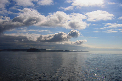 First couple hours of the cruise - going out into the first part of the Inside Passage.  It was a glorious day and it was great to see the wide water around us.