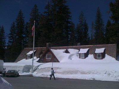 I guess we won't be going in thru the front door today.  :)  The Crater Lake National Park  Visitor Information Center was still a bit snowed in on this sunny day in May 2010.