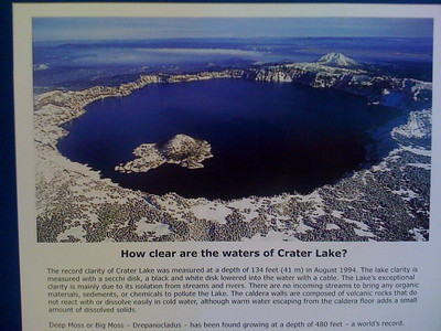 A Crater Lake FAQ from the visitor center.  You can see down 134 feet, which is interesting, but it's only about 10% of the way down into the deep. :)