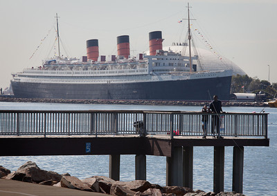 Queen Mary and Fisherman, Long Beach CA