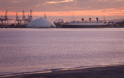 Queen Mary at Sunset, Long Beach CA