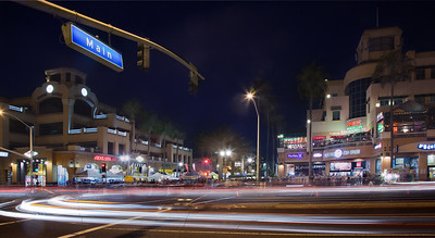 PCH and Main at night, Huntington Beach CA