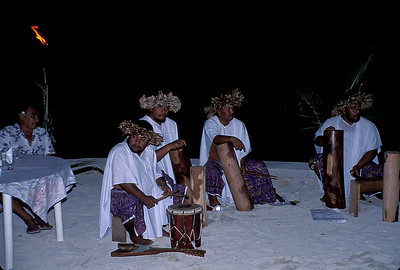 © Joseph Dougherty. All rights reserved.  Drummers playing for the Tahitian dancers.   Cook's Bay, Moorea; Society Islands