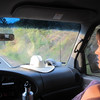 Amanda, focused on the road
