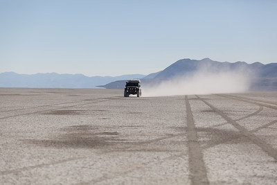 Jeep Rubicon AEV driving through the Black Rock Desert.