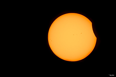 The August 21st eclipse of the sun begins just outside Greenville, SC.  Note the sun spots that visible on the surface of the sun.
