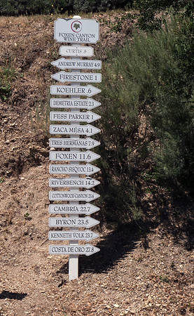Vineyard directory on Foxen Canyon Rd.