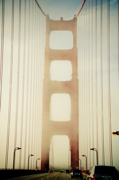 Golden Gate Bridge on a foggy spring morning...