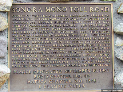 Sonora Mono Toall Road Historical Marker.