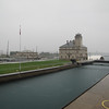 The administration building is the hub of Soo Lock operations. The tall tower is the Lockmaster's tower where traffic through the locks is coordinated.
