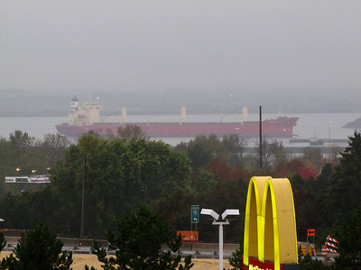Federal Yoshino approaching the Soo Locks from the west. Viewed from our 4th floor hotel room at the Holiday Inn.