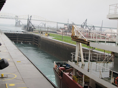 The Richelieu, now at Lake Huron level, leaves the MacArthur Lock into the Lower St. Mary River