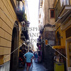Narrow shopping street in the town of Sorrento, Italy.