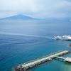 Sorrento: Villa Comunale: Ferry in Marina Piccola, toward Vesuvius