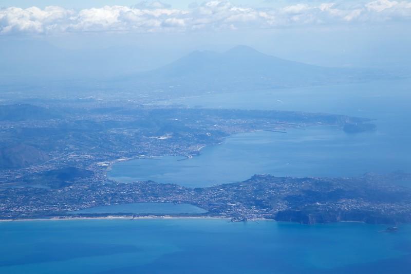 On plane: Toward Naples and Vesuvius