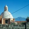 On bus: Vico Equense: Church domes and Mount Vesuvius