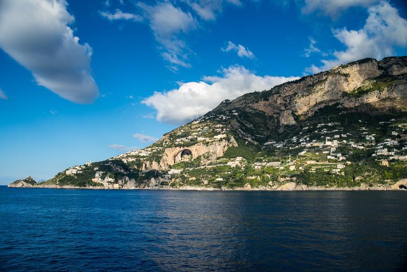 Sailing past Positano, Italy