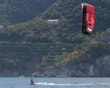 Kite-boarding is great fun to watch.  Wouldn't want to do it.